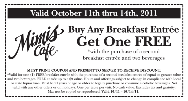 Mimis Cafe Coupon May 2017 Two-for-one breakfasts with your drinks at Mimis Cafe
