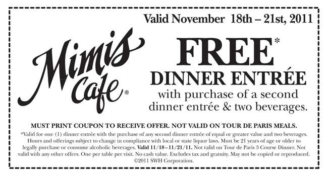 Mimis Cafe Coupon February 2018 Two-for-one dinner entrees with your drinks at Mimis Cafe