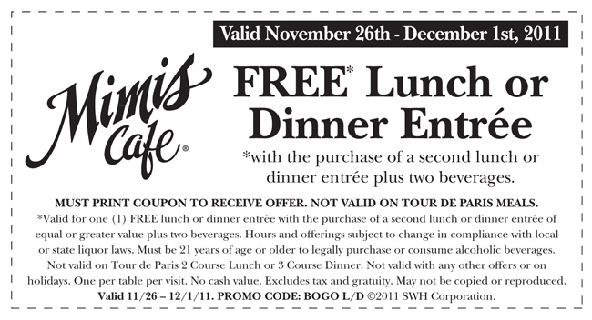 Mimis Cafe Coupon October 2018 Two-for-one entrees with your drinks at Mimis Cafe