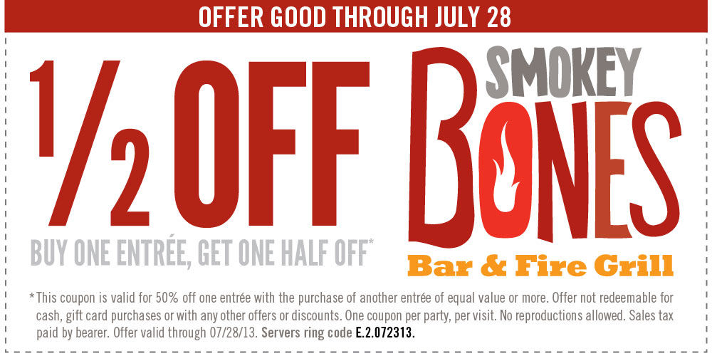 Buy 1 Entree Get 1 Half Off Use Smokey Bones Coupon